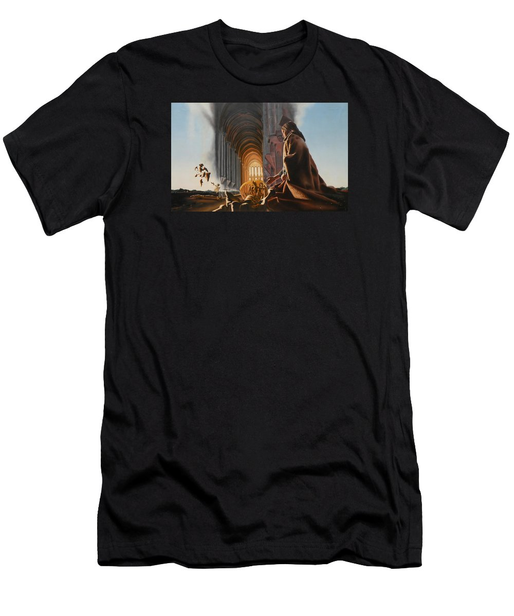 Surreal Men's T-Shirt (Athletic Fit) featuring the painting The Cathedral by Dave Martsolf
