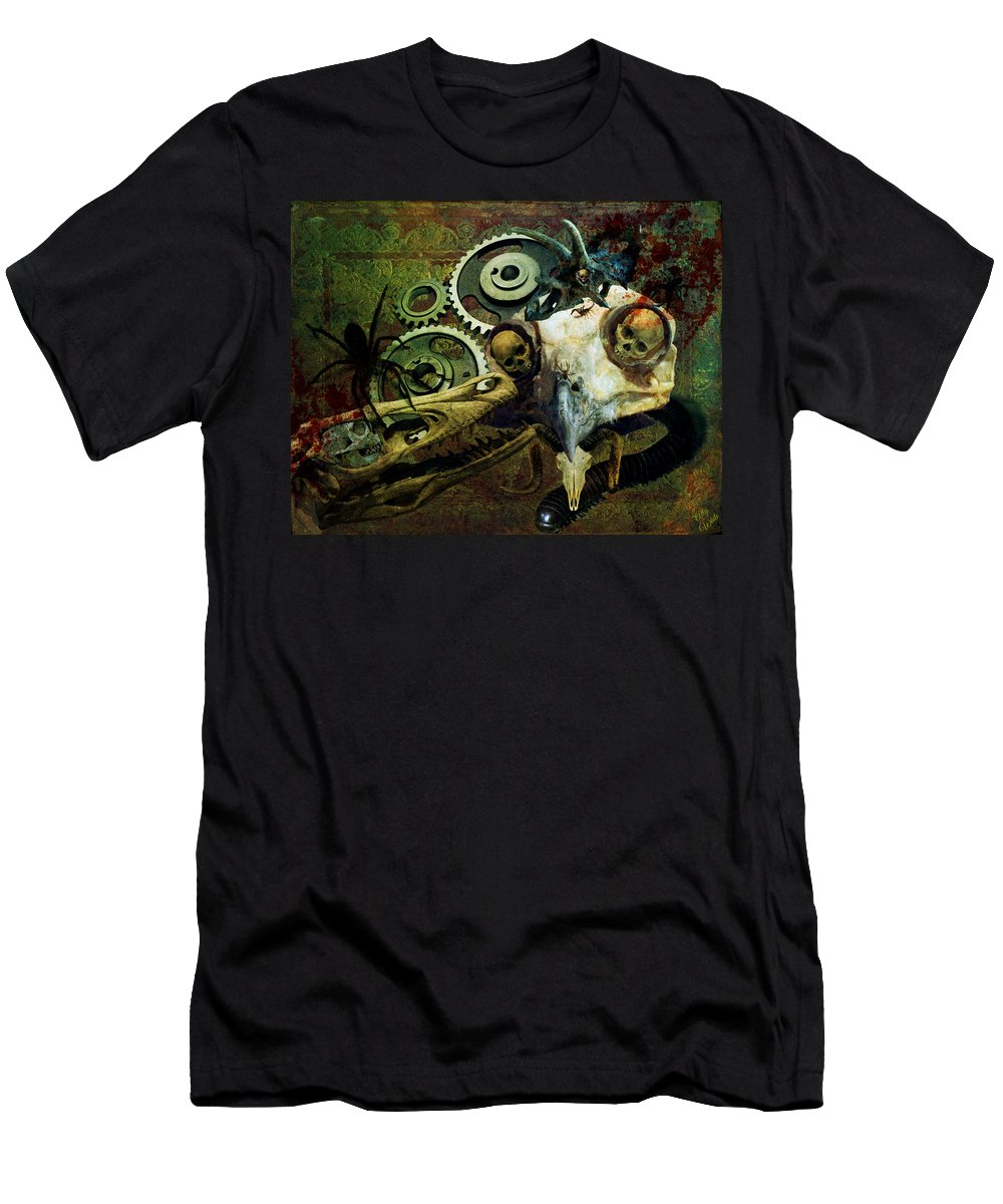 Skulls Men's T-Shirt (Athletic Fit) featuring the painting Surreal Nightmare by Ally White
