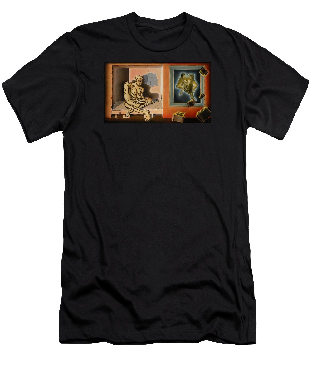 Surreal Men's T-Shirt (Athletic Fit) featuring the painting Surreal Portents Of Genius by Dave Martsolf
