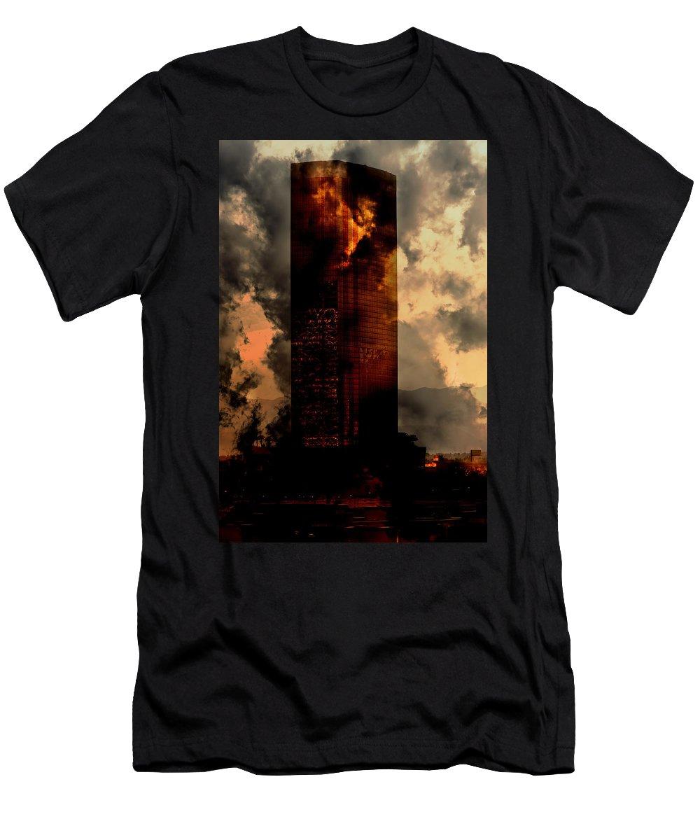 Skyscraper Men's T-Shirt (Athletic Fit) featuring the photograph Surreal Sky Scraper by Gunter Nezhoda