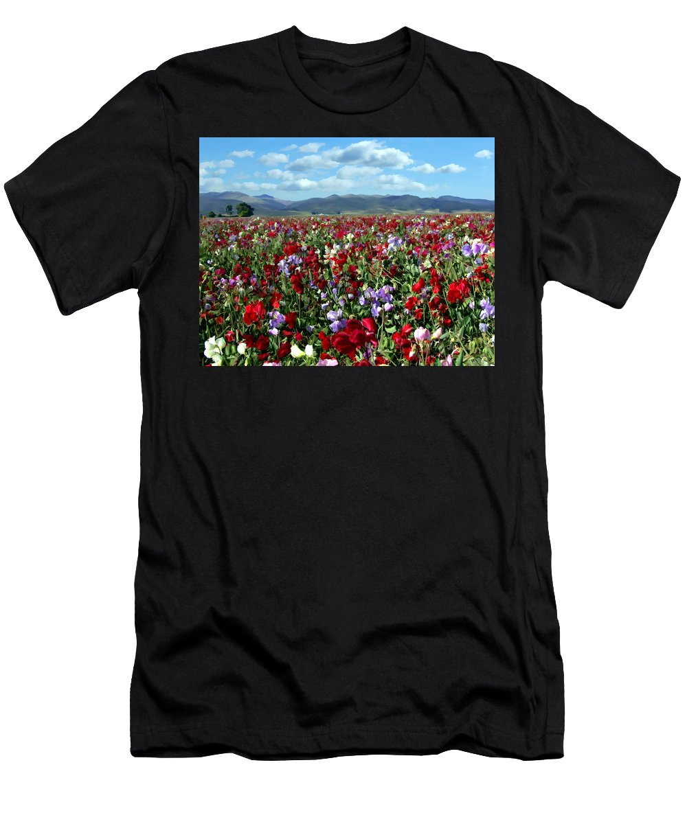 Flowers Men's T-Shirt (Athletic Fit) featuring the photograph Sweet Peas Forever by Kurt Van Wagner
