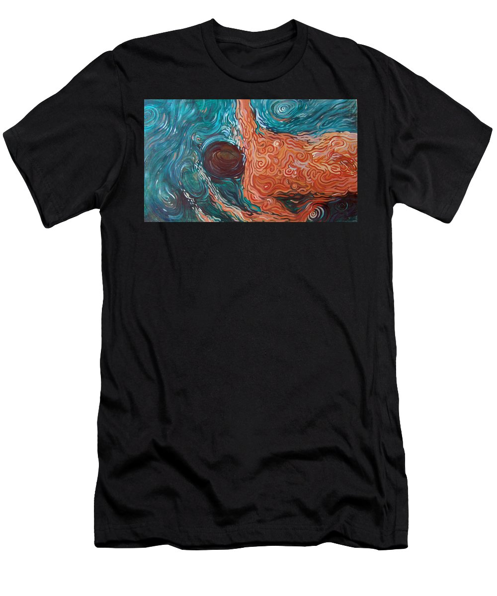 Swim Men's T-Shirt (Athletic Fit) featuring the painting Swimmer Iv by Rita Pranca