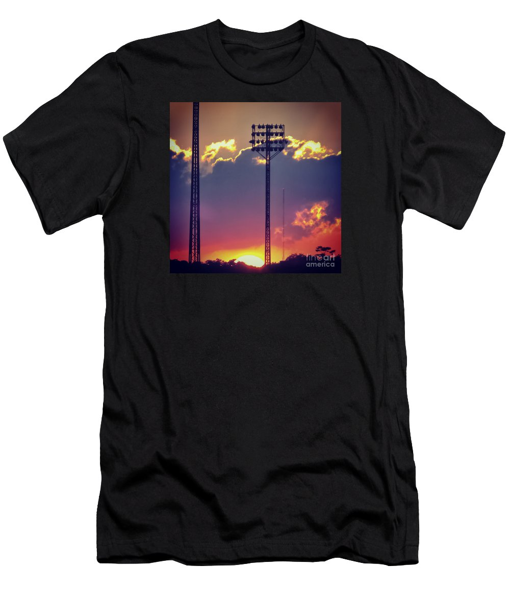 Dusk Men's T-Shirt (Athletic Fit) featuring the photograph Switching Shifts by Charlie Cliques
