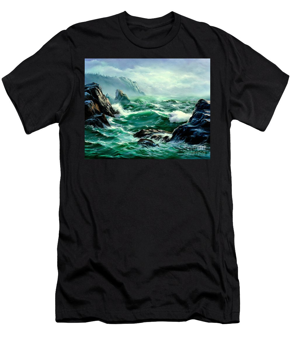 Seascapes Men's T-Shirt (Athletic Fit) featuring the painting Symphony by Sharon Abbott-Furze