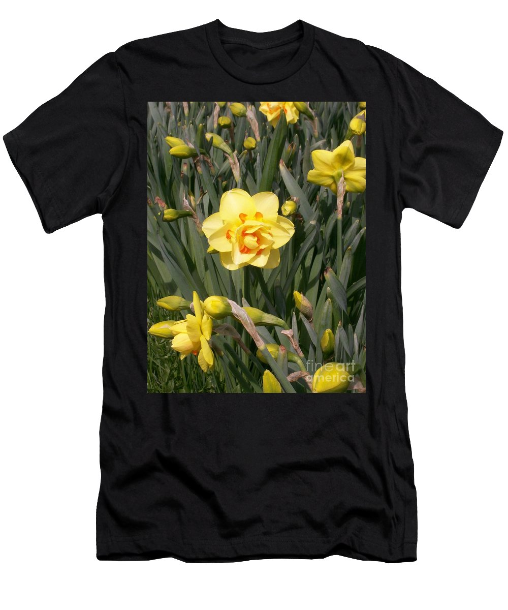 Daffodil Men's T-Shirt (Athletic Fit) featuring the photograph Tahiti Double Daffodil by Laurie Eve Loftin