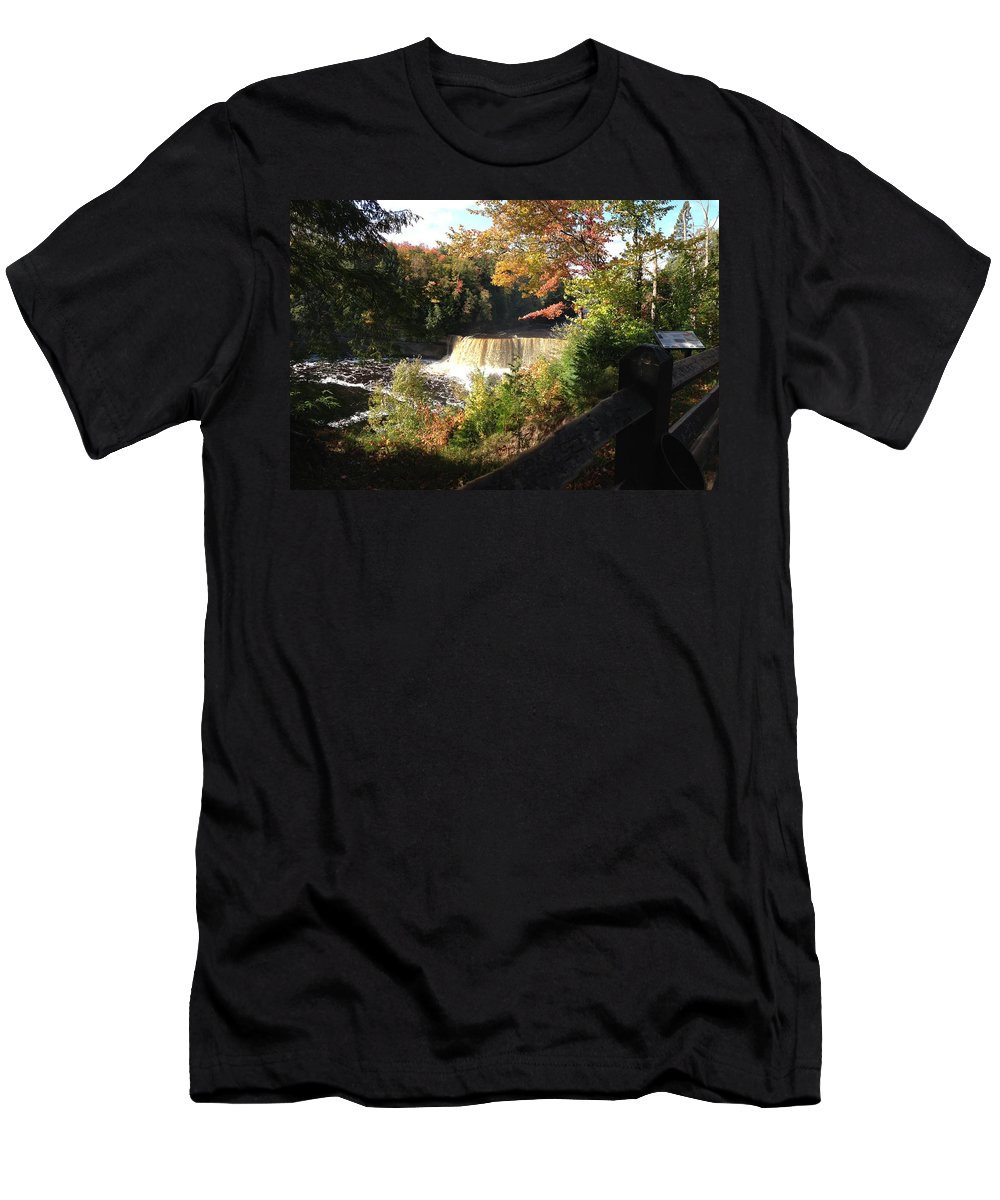 Tahquamenon Falls Men's T-Shirt (Athletic Fit) featuring the photograph Tahquamenon Falls With My Iphone by Linda Kerkau