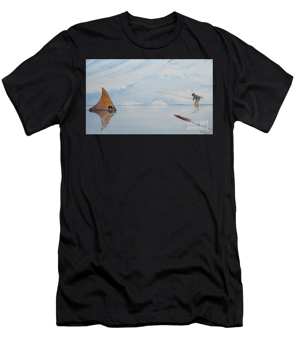 Scenic Landscape Men's T-Shirt (Athletic Fit) featuring the painting Tailing Redfish by Don Hand