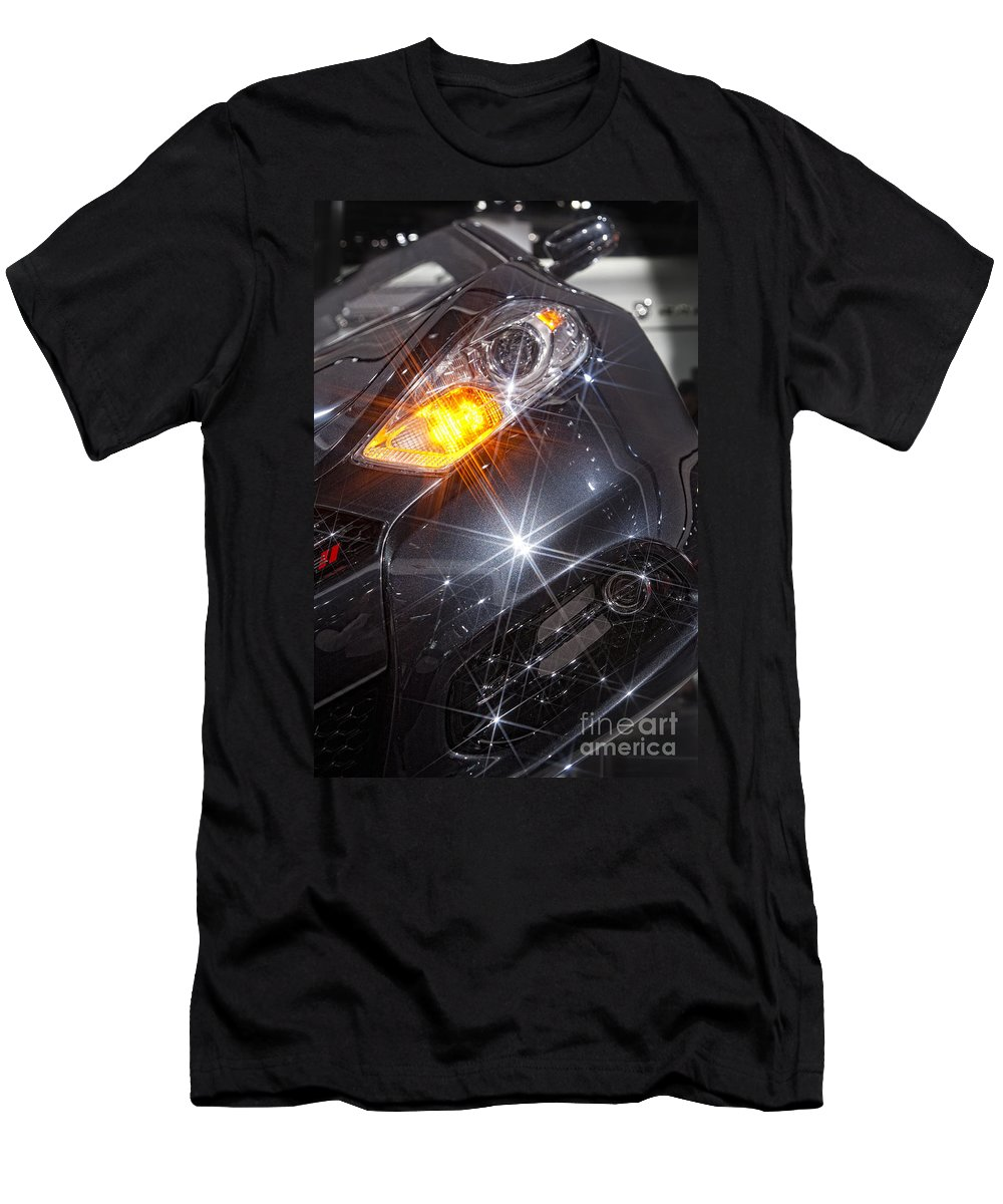 Automobiles Men's T-Shirt (Athletic Fit) featuring the photograph Dodge Headlight by Timothy Hacker