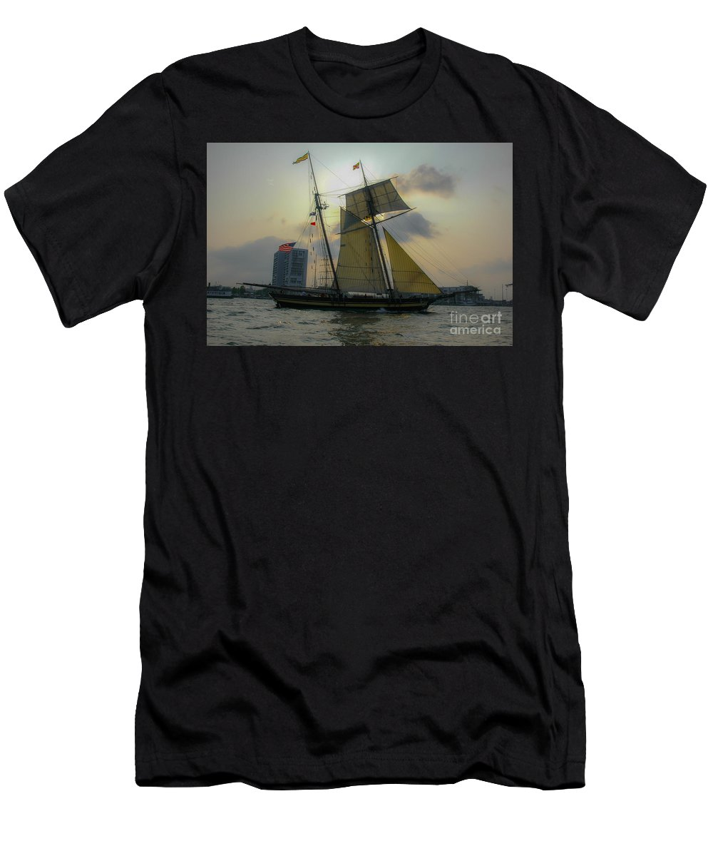 Tall Ships Men's T-Shirt (Athletic Fit) featuring the photograph Tall Ship Chasing The Sun by Dale Powell