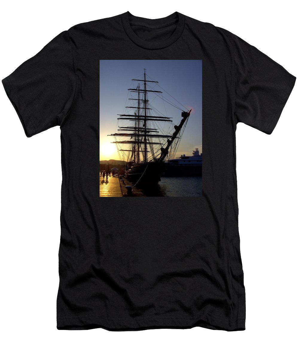 Ibiza Men's T-Shirt (Athletic Fit) featuring the photograph Tall Ship In Ibiza Town by Steve Kearns