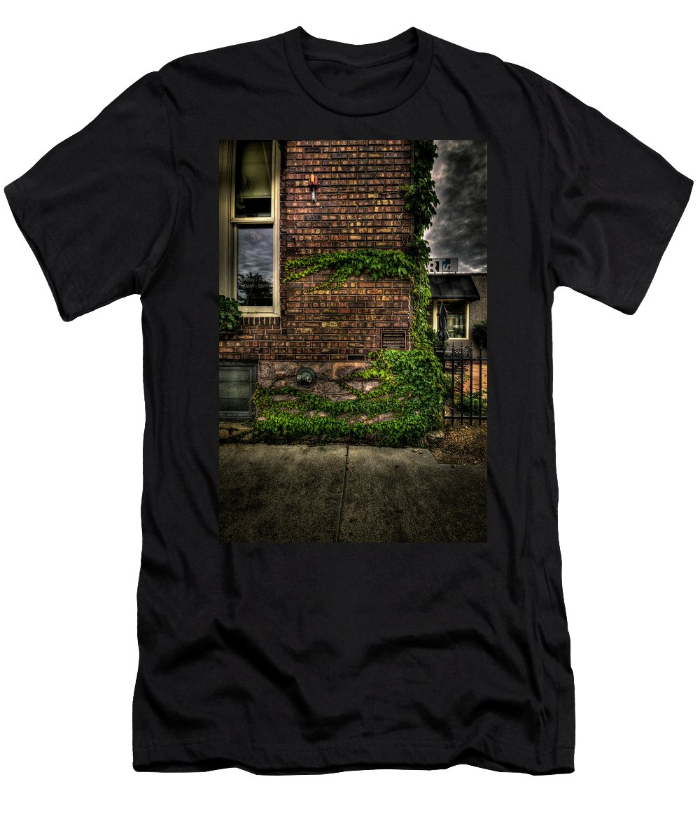 8th And Rr Men's T-Shirt (Athletic Fit) featuring the photograph Tall Window by Mike Oistad