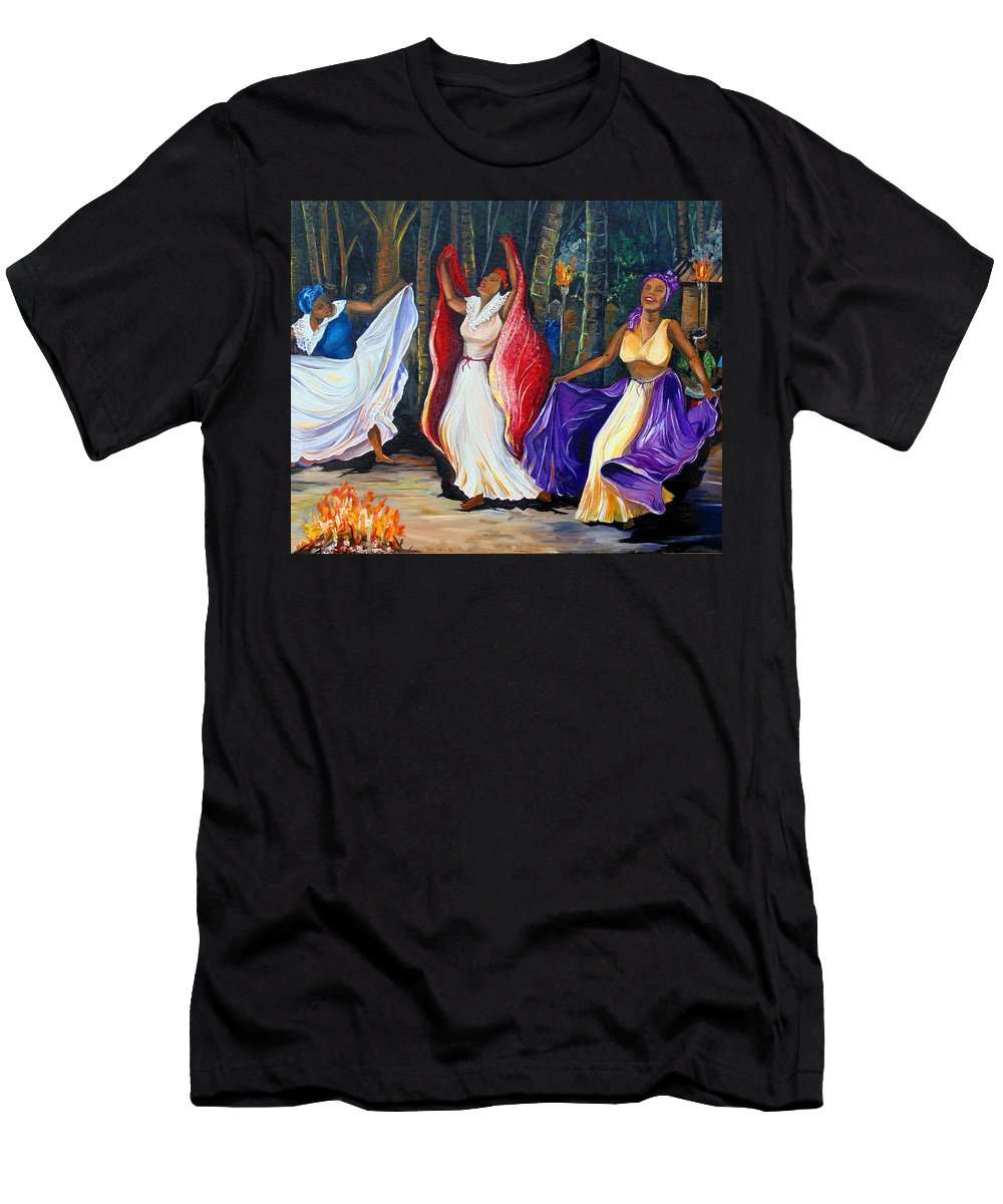 Caribbean Dance T-Shirt featuring the painting Tamboulay by Karin Dawn Kelshall- Best