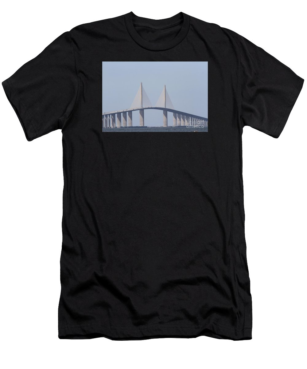 Bridge Men's T-Shirt (Athletic Fit) featuring the photograph Tampa Sky Way Bridge by Christiane Schulze Art And Photography