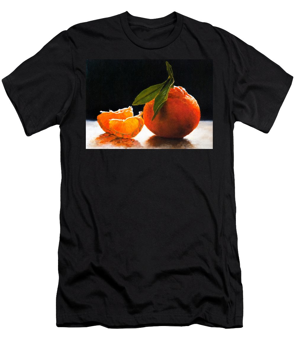 Tangelo Paintings Men's T-Shirt (Athletic Fit) featuring the painting Tangelo Slices by Anthony Enyedy