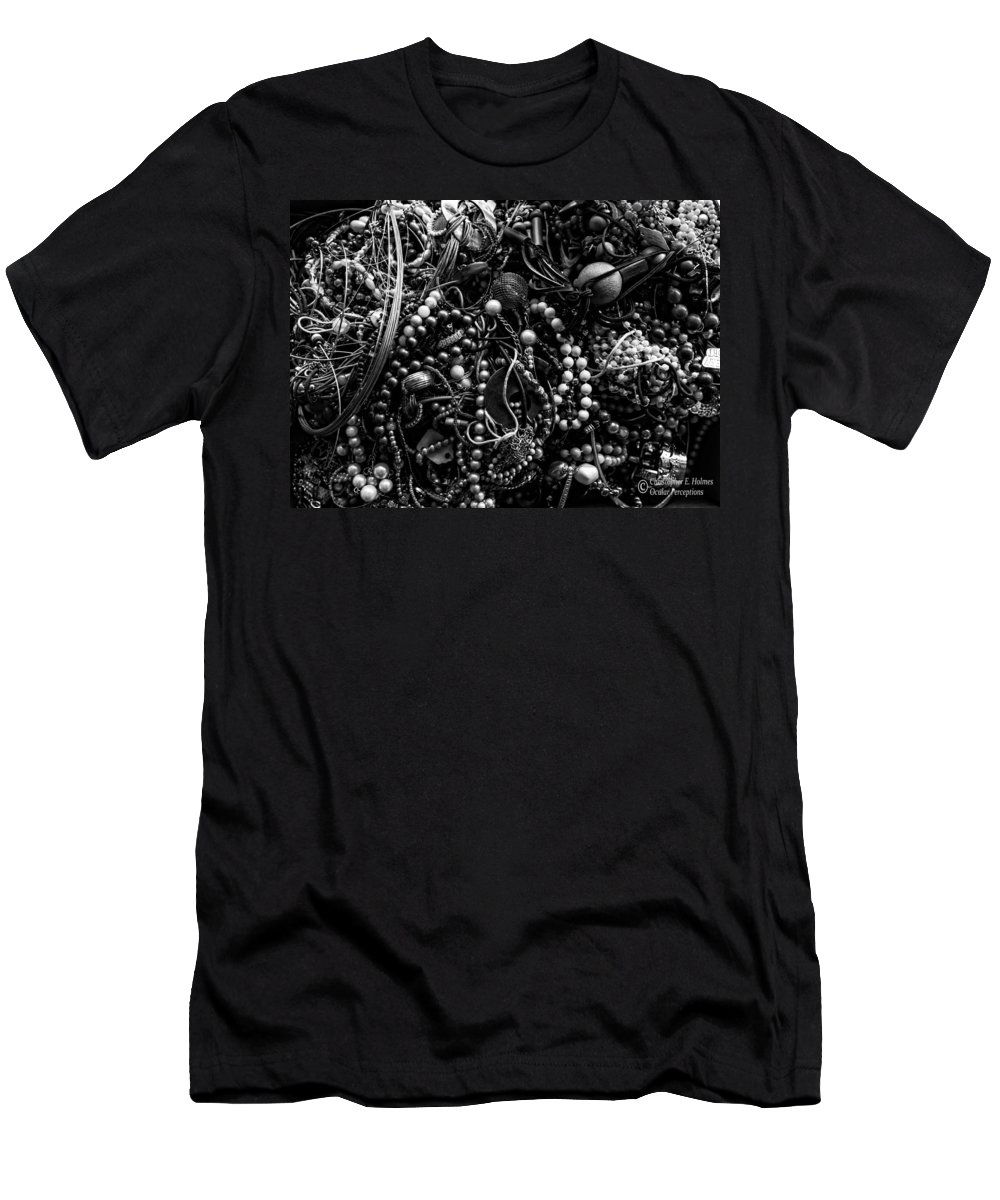 Christopher Holmes Photography Men's T-Shirt (Athletic Fit) featuring the photograph Tangled Baubles - Bw by Christopher Holmes
