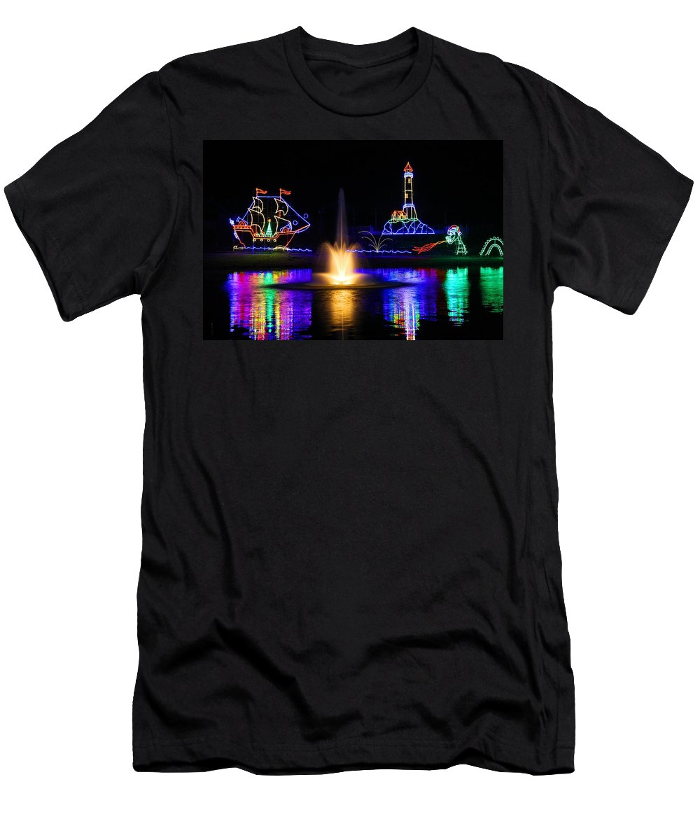 Tanglewood Men's T-Shirt (Athletic Fit) featuring the photograph Tanglewood Festival Of Lights by Kathryn Meyer
