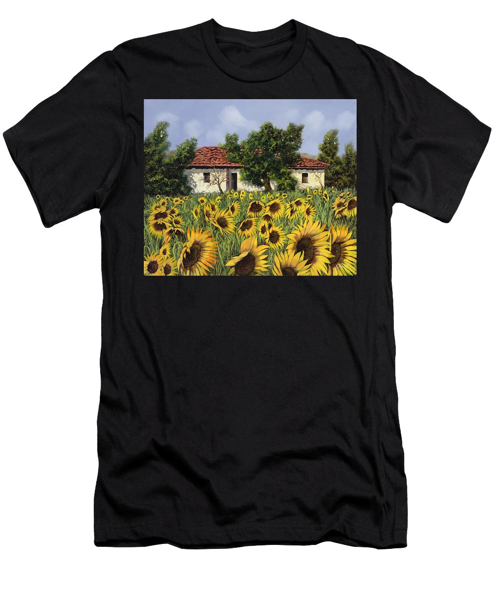 Tuscany Men's T-Shirt (Athletic Fit) featuring the painting Tanti Girasoli Davanti by Guido Borelli