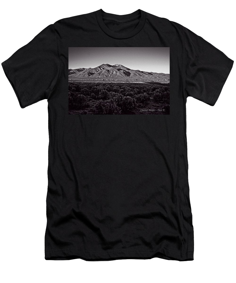 Taos Men's T-Shirt (Athletic Fit) featuring the photograph Taos In The Zone by Charles Muhle