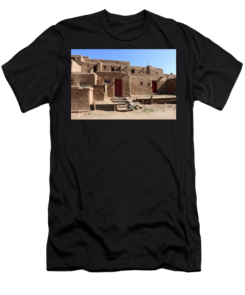 Pueblo Men's T-Shirt (Athletic Fit) featuring the photograph Taos Red Doors by Christiane Schulze Art And Photography