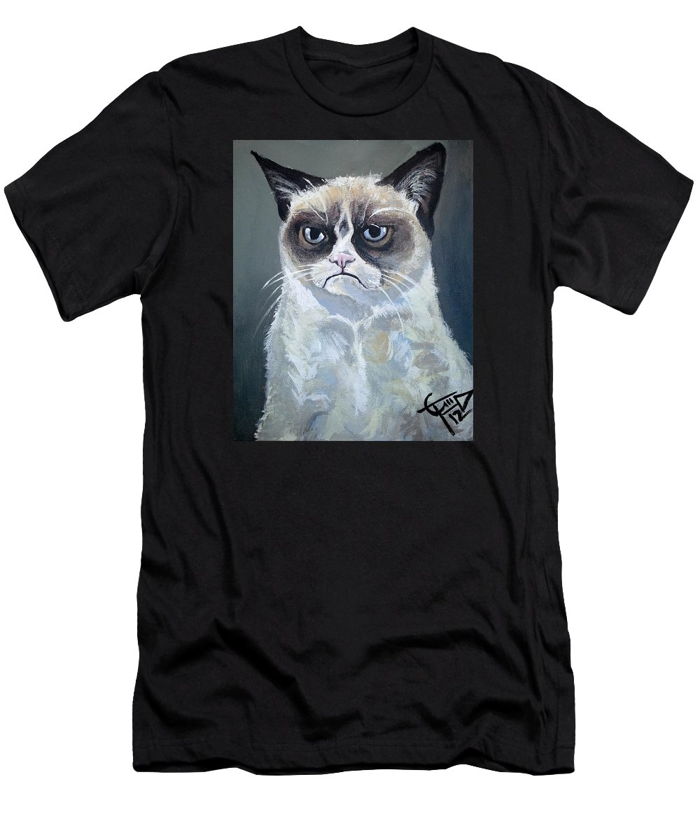Grumpy Cat Men's T-Shirt (Athletic Fit) featuring the painting Tard - Grumpy Cat by Tom Carlton