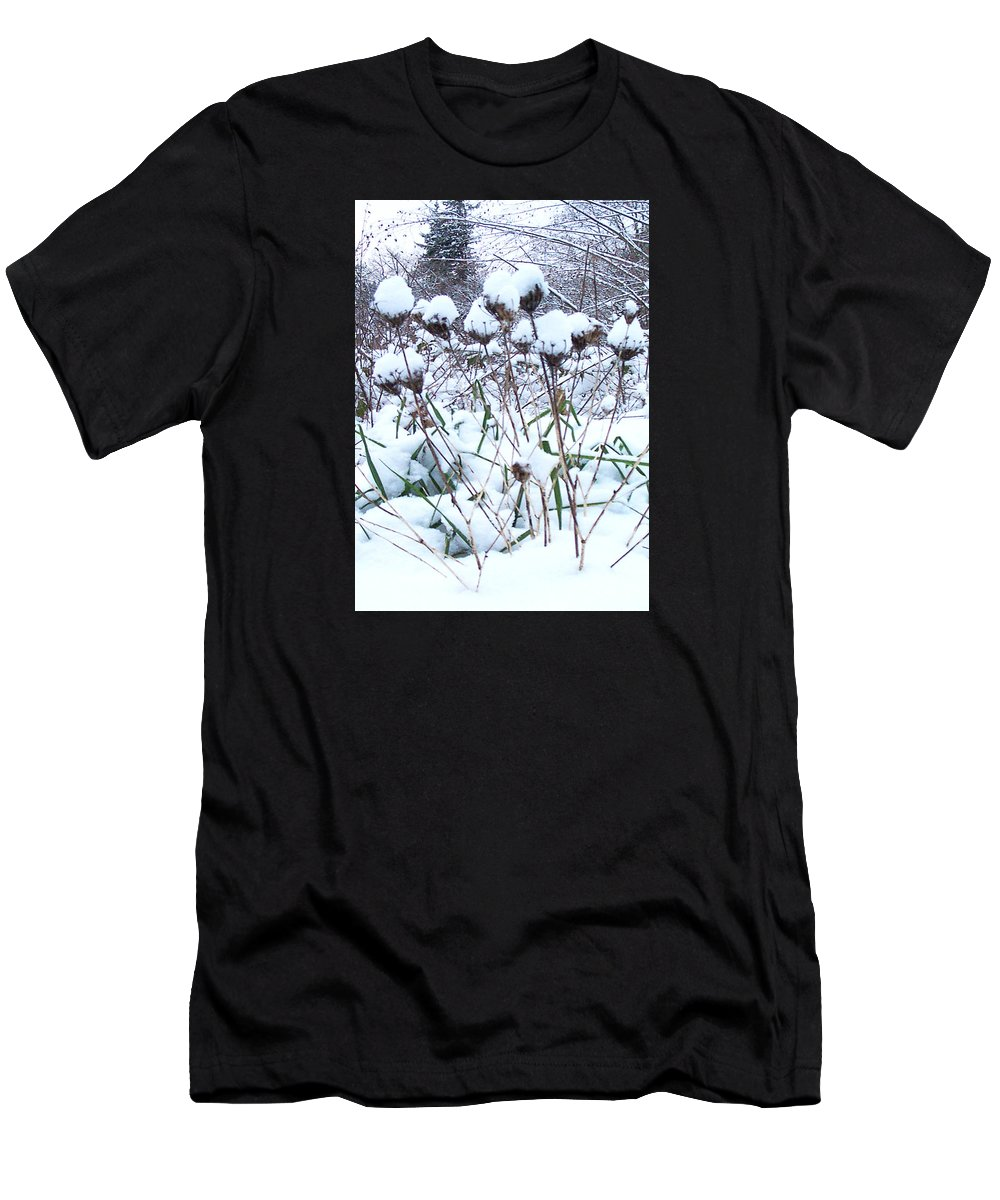 Winter Flowers Filled With Snow Men's T-Shirt (Athletic Fit) featuring the photograph Tea Cups Of Snow by Blythe Ayne