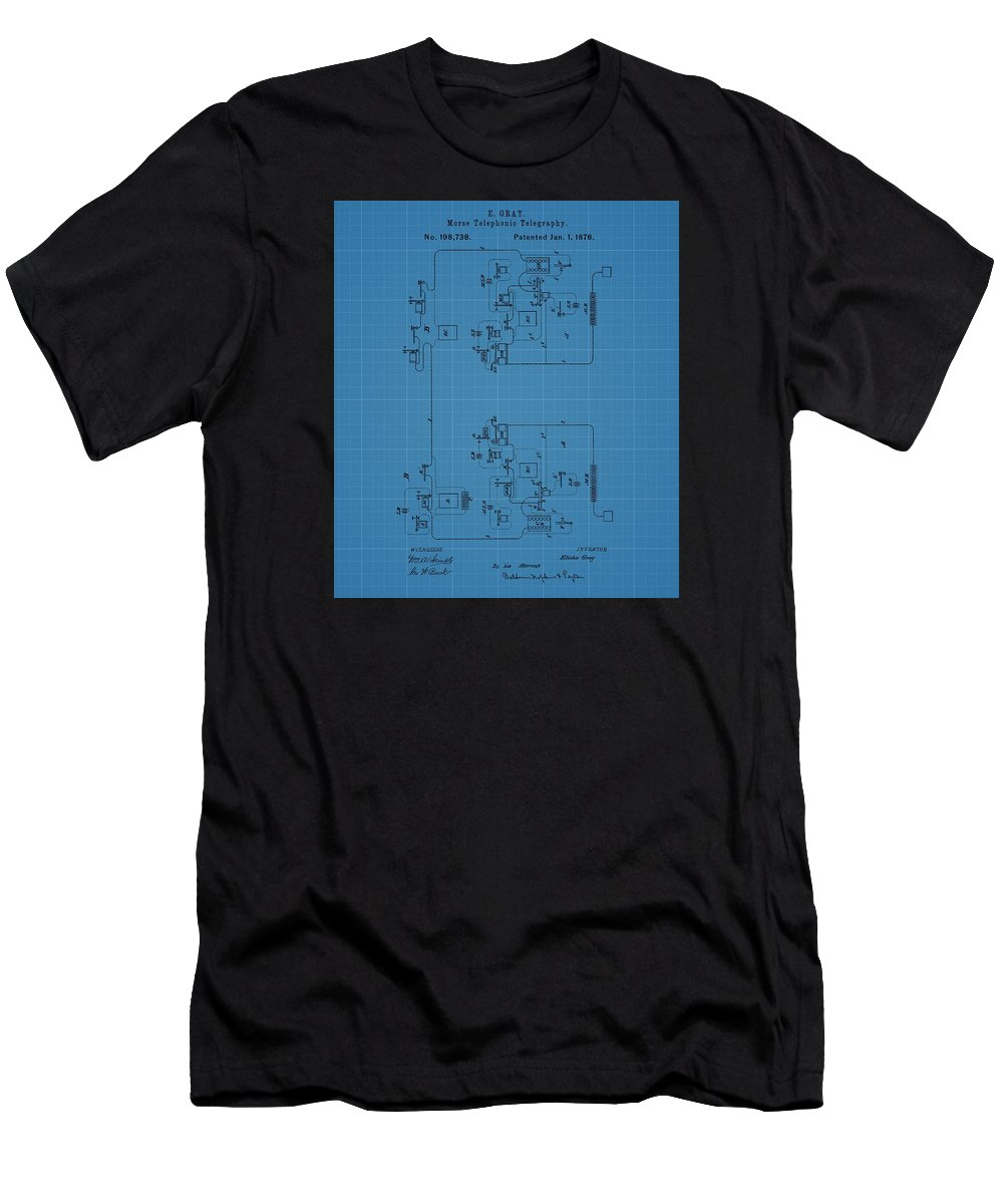 Telegraph Blueprint Patent Men's T-Shirt (Athletic Fit) featuring the mixed media Telegraph Blueprint Patent by Dan Sproul