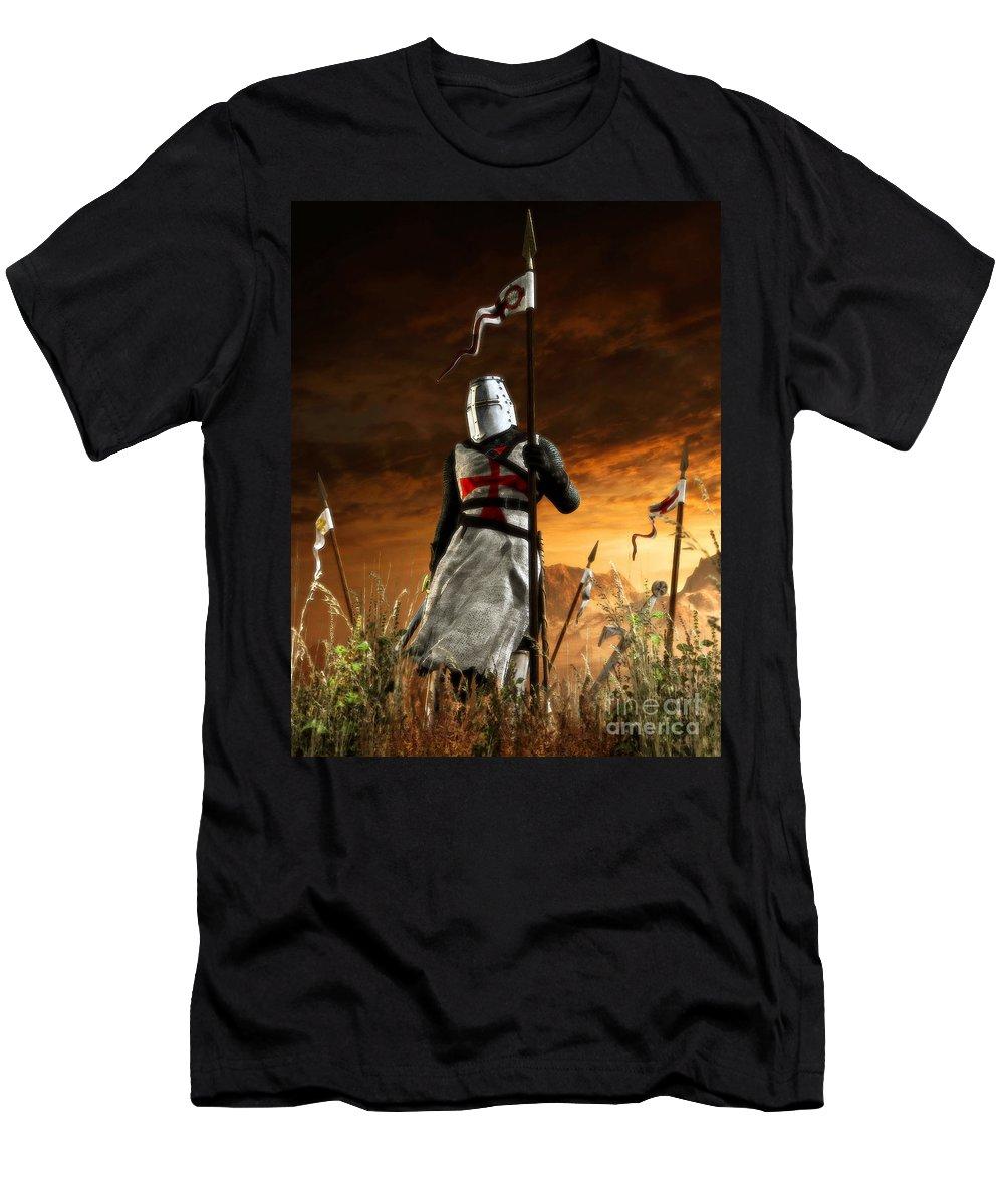 Templar Men's T-Shirt (Athletic Fit) featuring the digital art Templar by Gabor Gabriel Magyar - Forgottenangel