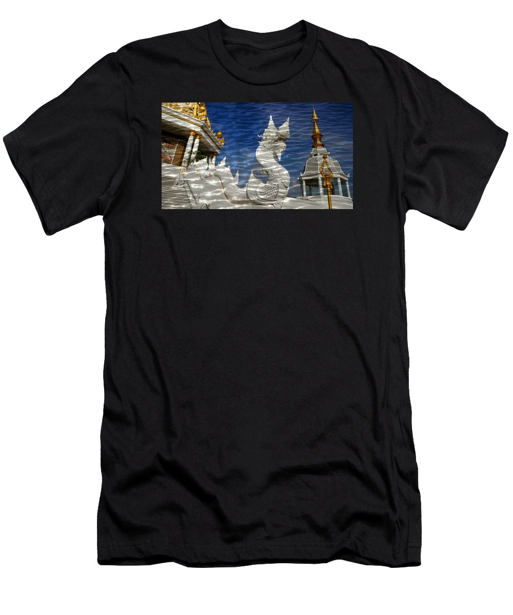 Reflection Men's T-Shirt (Athletic Fit) featuring the photograph Temple Reflection by Ian Gledhill
