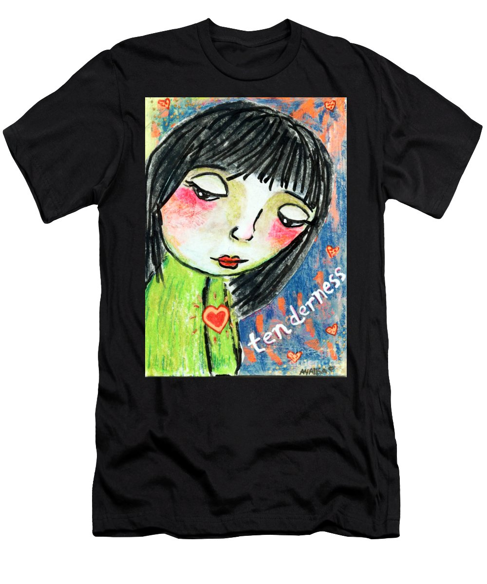 Girl Men's T-Shirt (Athletic Fit) featuring the mixed media Tenderness by AnaLisa Rutstein