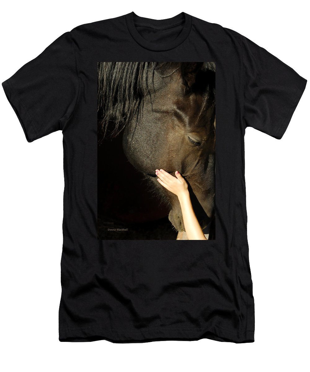 Horse Men's T-Shirt (Athletic Fit) featuring the photograph Tenderness by Donna Blackhall