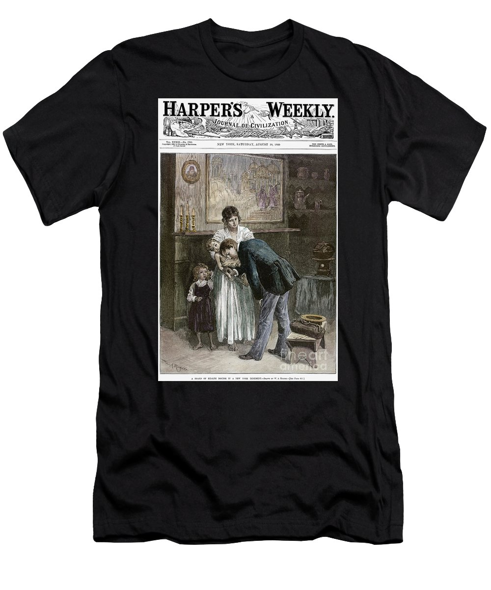 1889 Men's T-Shirt (Athletic Fit) featuring the photograph Tenement: Doctor, 1889 by Granger