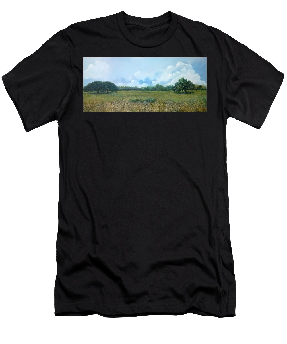 Paisaje Tropical Paname�o Men's T-Shirt (Athletic Fit) featuring the painting Tensegridad by Ricardo Sanchez Beitia