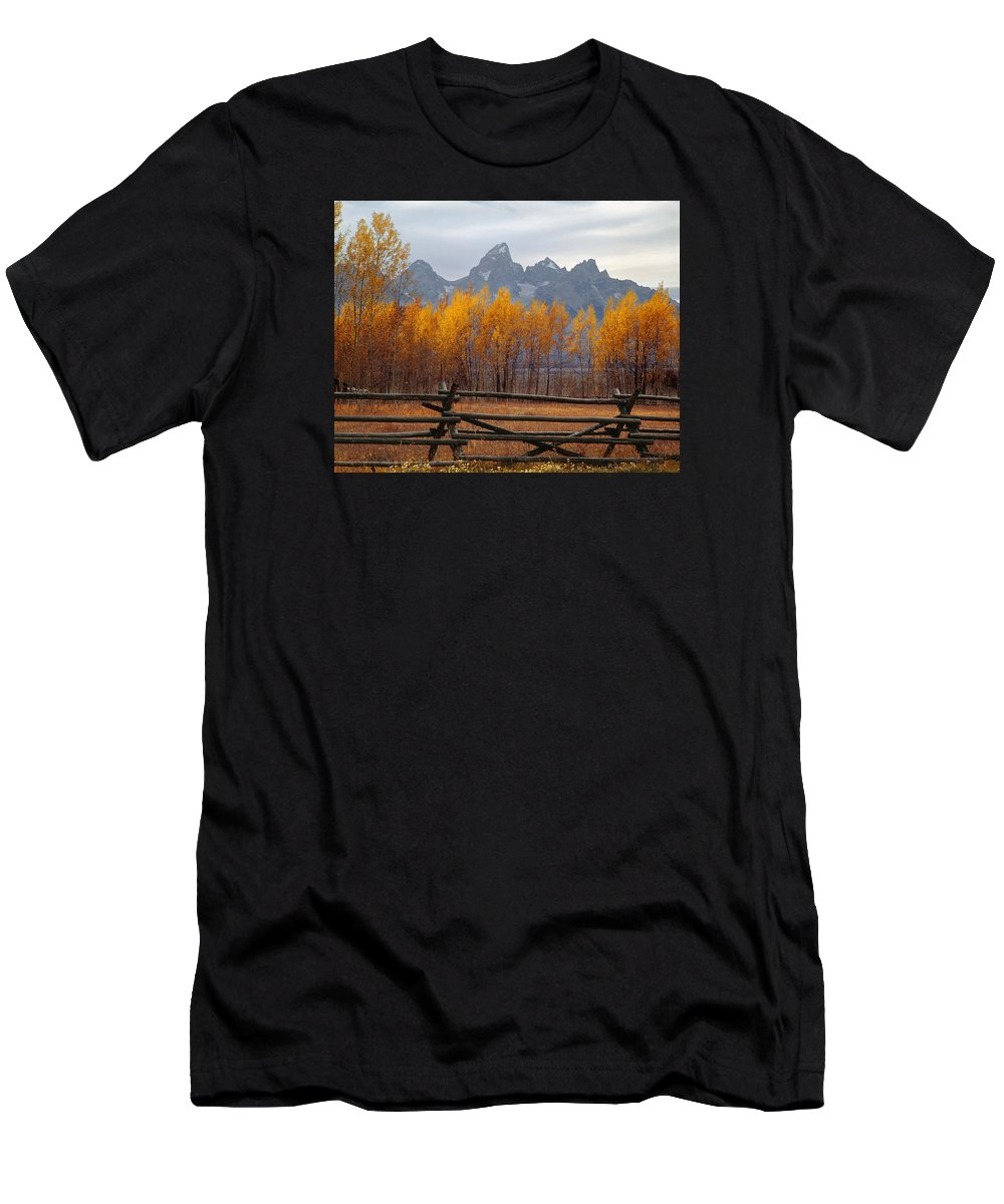 Wood Fence Men's T-Shirt (Athletic Fit) featuring the photograph 1m9354-teton Range In Autumn From Jackson Hole Ranch Country by Ed Cooper Photography