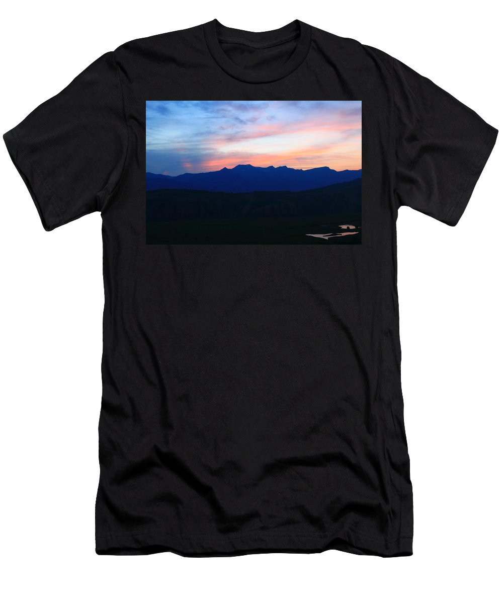 Sunset Men's T-Shirt (Athletic Fit) featuring the photograph Teton Sunset by Catie Canetti