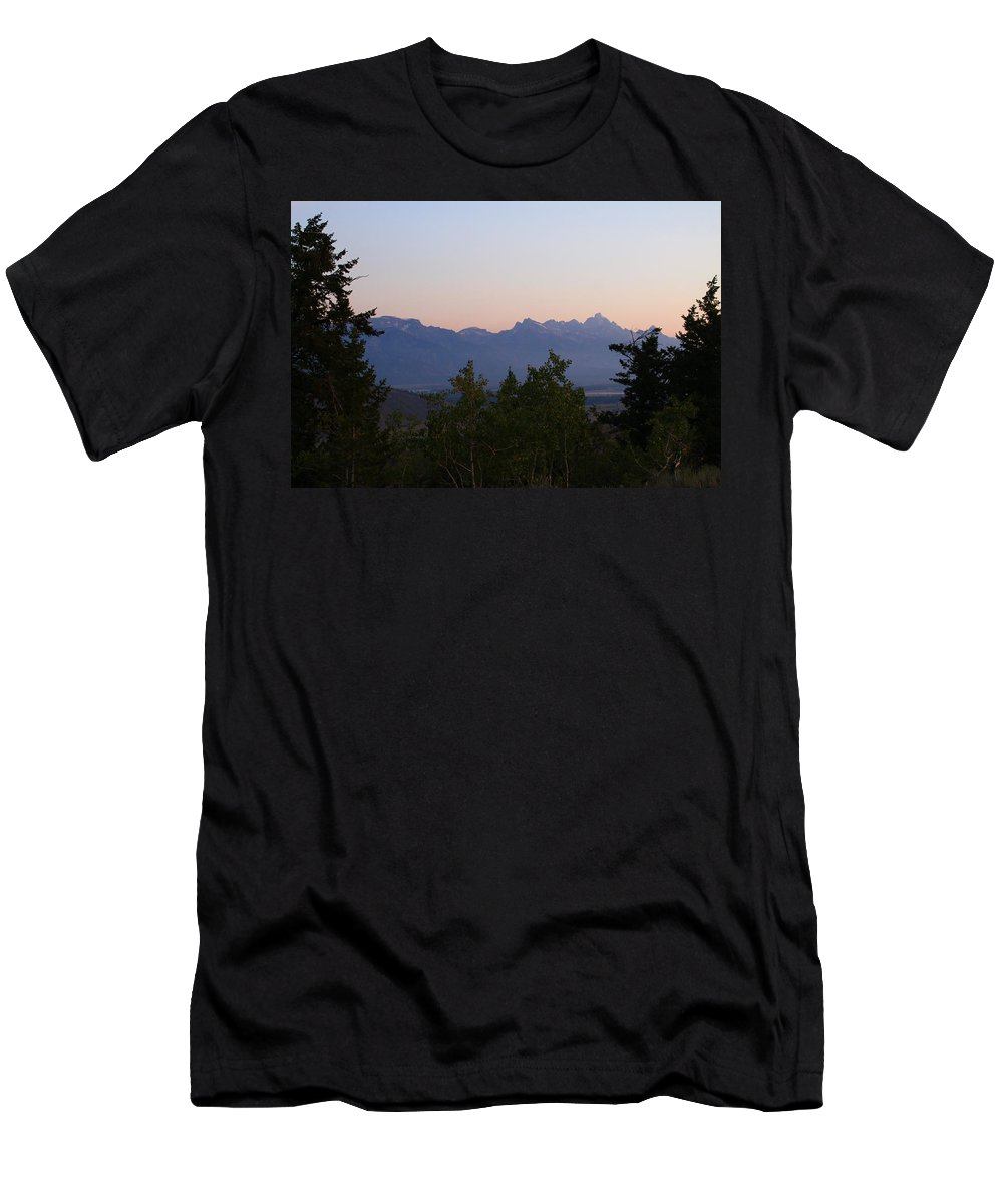 Jackson Hole Men's T-Shirt (Athletic Fit) featuring the photograph Tetons In The Morning by Catie Canetti
