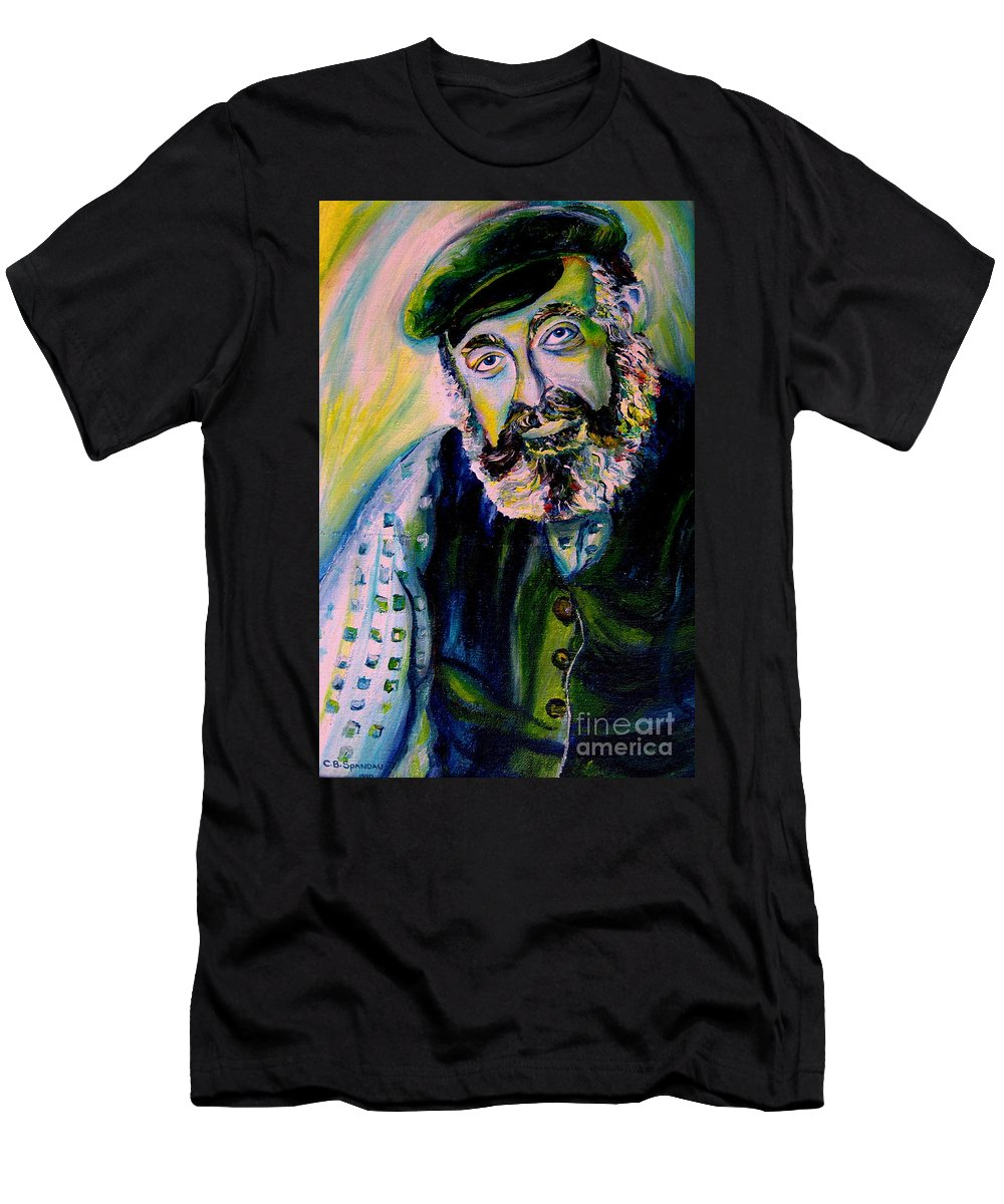 Tevye Fiddler On The Roof Men's T-Shirt (Athletic Fit) featuring the painting Tevye Fiddler On The Roof by Carole Spandau