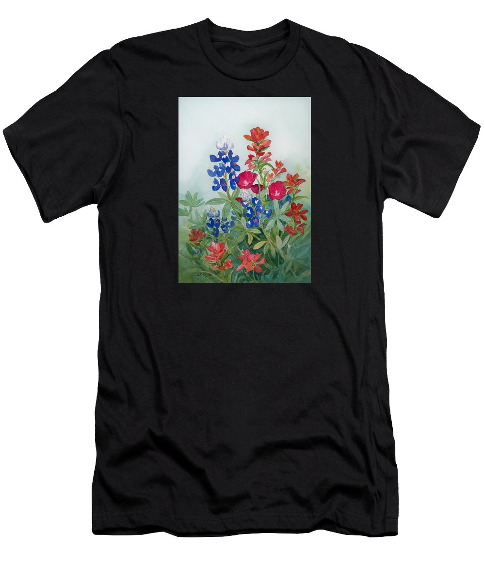Bluebonnets Men's T-Shirt (Athletic Fit) featuring the painting Texas Wildflowers by Sue Kemp
