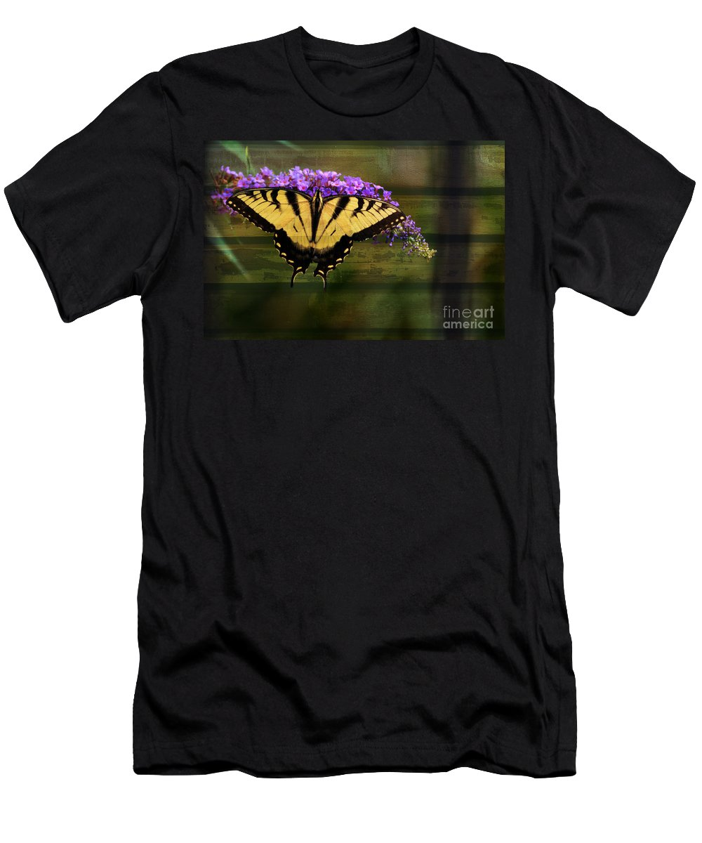 Butterfly Men's T-Shirt (Athletic Fit) featuring the photograph Textured by Judy Wolinsky