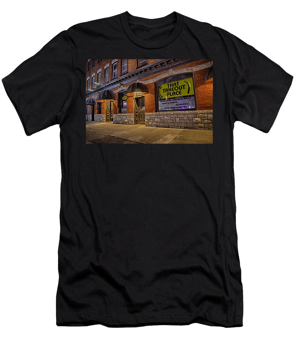 Hdr Men's T-Shirt (Athletic Fit) featuring the photograph That Takeout Place by John Herzog