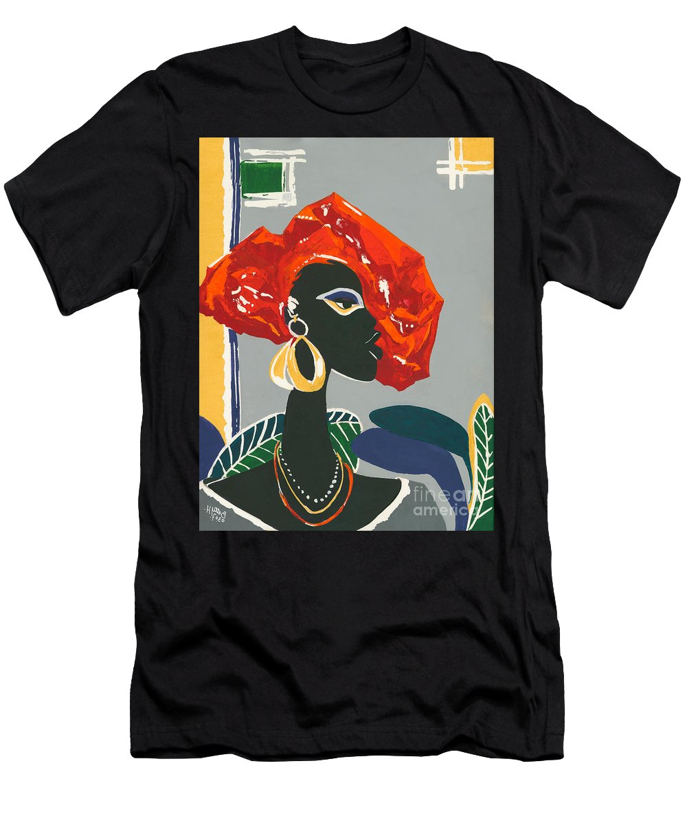 Black Men's T-Shirt (Athletic Fit) featuring the painting The Ambassador by Elisabeta Hermann