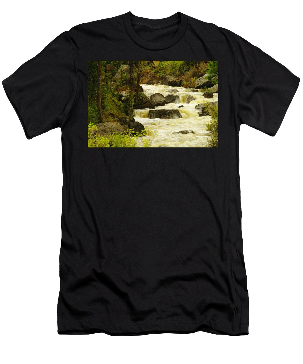 Rivers Men's T-Shirt (Athletic Fit) featuring the photograph The Amsden River Wyoming by Jeff Swan