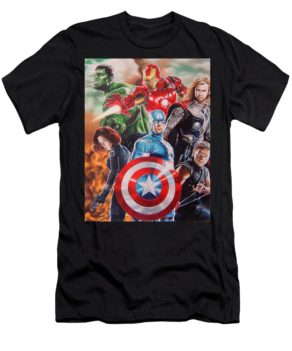 Avengers Men's T-Shirt (Athletic Fit) featuring the painting The Avengers by Joseph Christensen