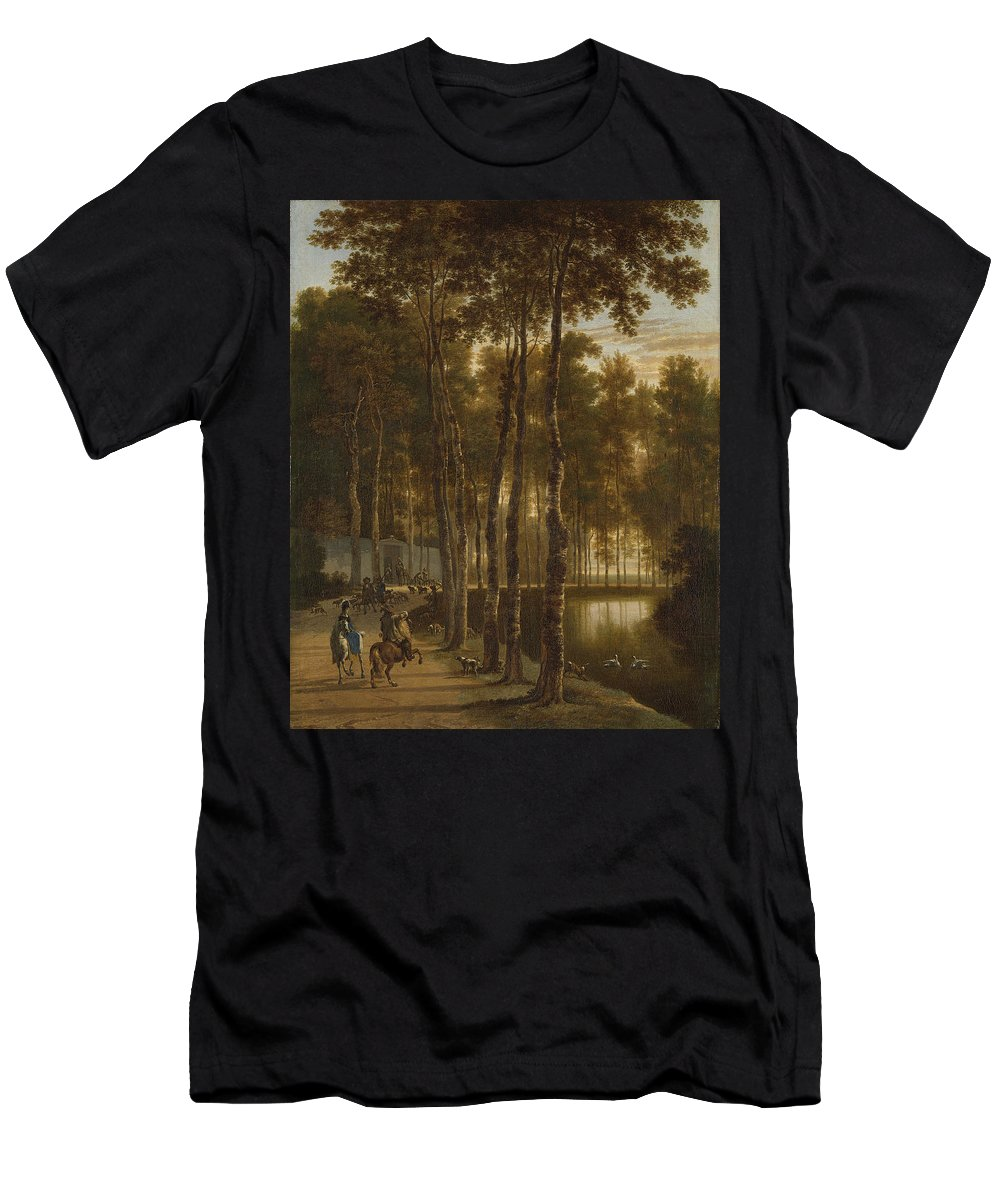 Jan Hackaert Men's T-Shirt (Athletic Fit) featuring the painting The Avenue Of Birches by Jan Hackaert