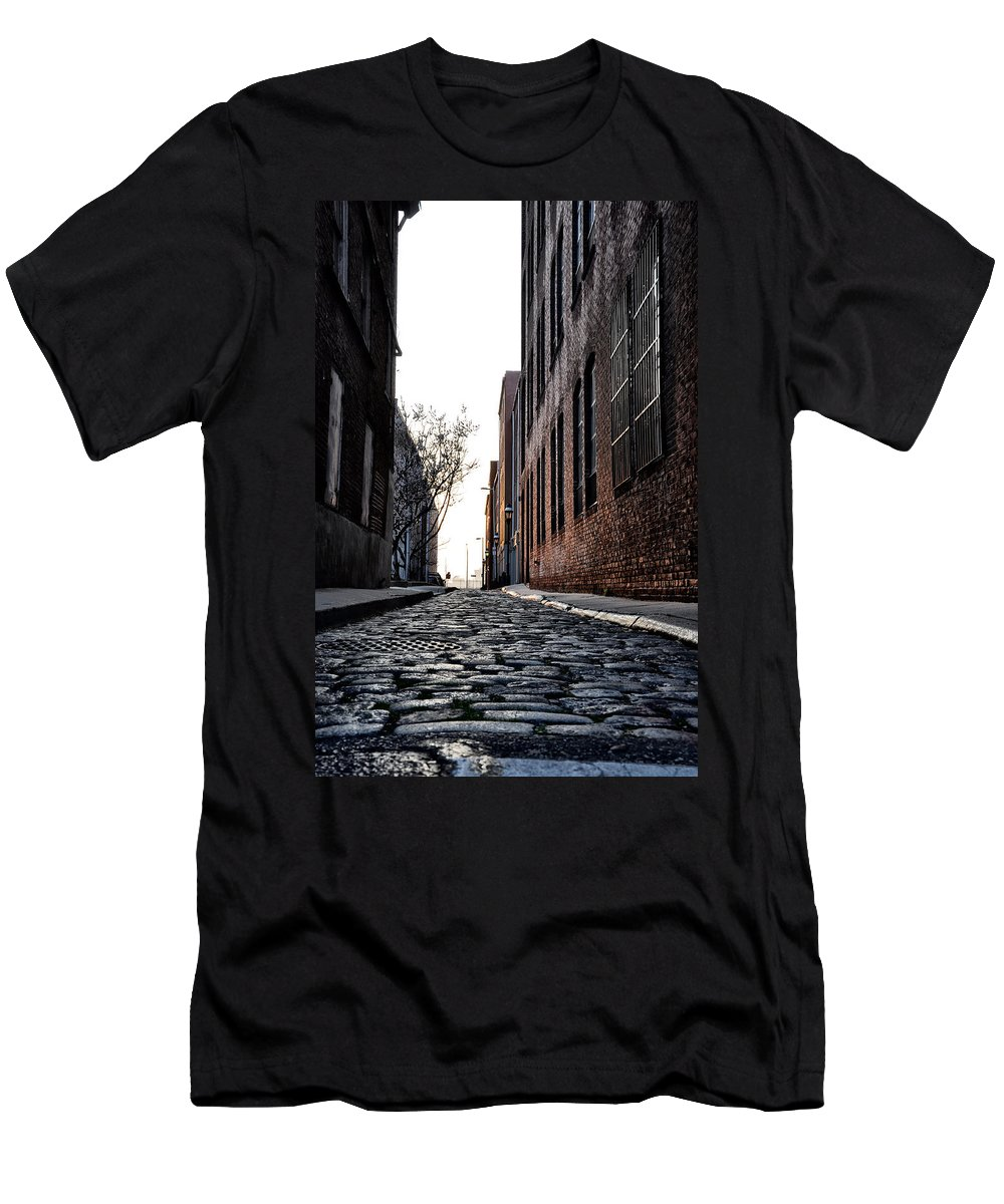The Back Alley Men's T-Shirt (Athletic Fit) featuring the photograph The Back Alley by Bill Cannon