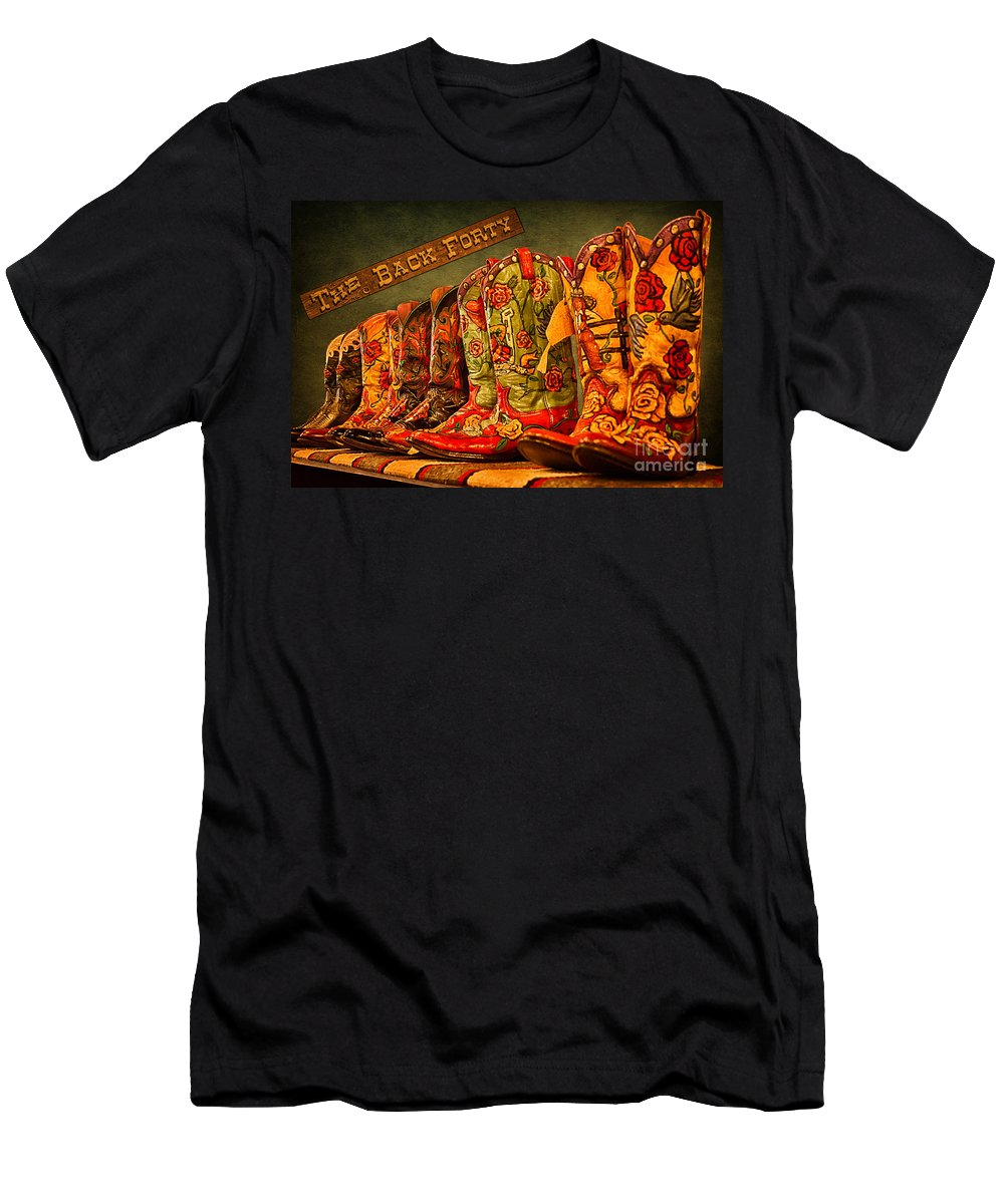 Cowgirl Boots Men's T-Shirt (Athletic Fit) featuring the photograph The Back Forty Boots Are Made For Dancin' by Priscilla Burgers