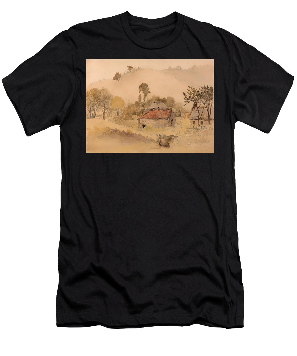 Painting Men's T-Shirt (Athletic Fit) featuring the painting The Barns by Mountain Dreams