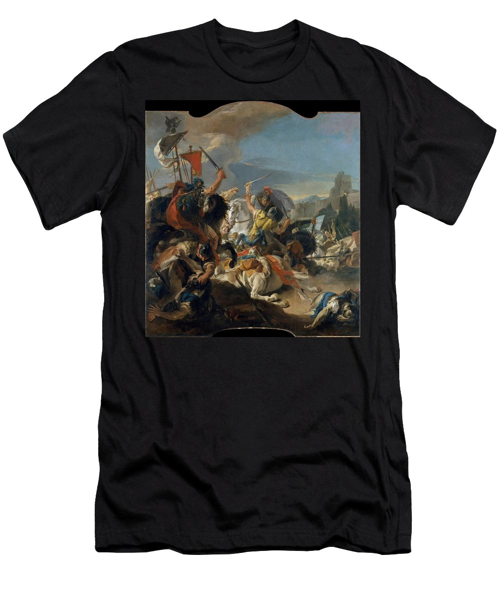 Giovanni Battista Tiepolo Men's T-Shirt (Athletic Fit) featuring the painting The Battle Of Vercellae by Giovanni Battista Tiepolo