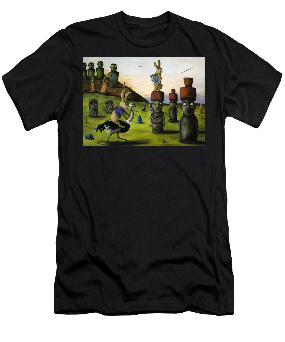 Bunny Men's T-Shirt (Athletic Fit) featuring the painting The Battle Over Easter Island by Leah Saulnier The Painting Maniac