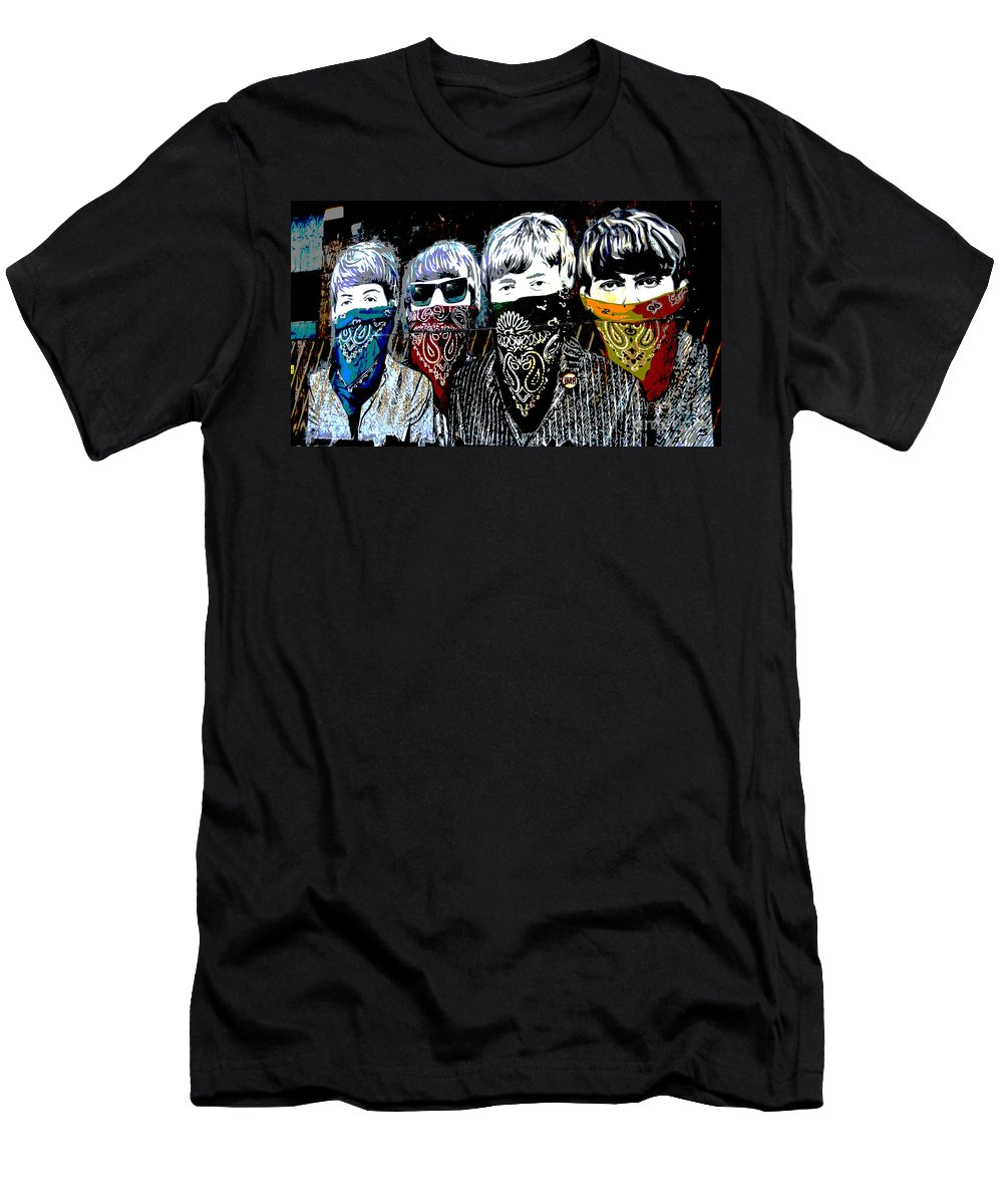 Banksy T-Shirt featuring the photograph The Beatles wearing face masks by RicardMN Photography