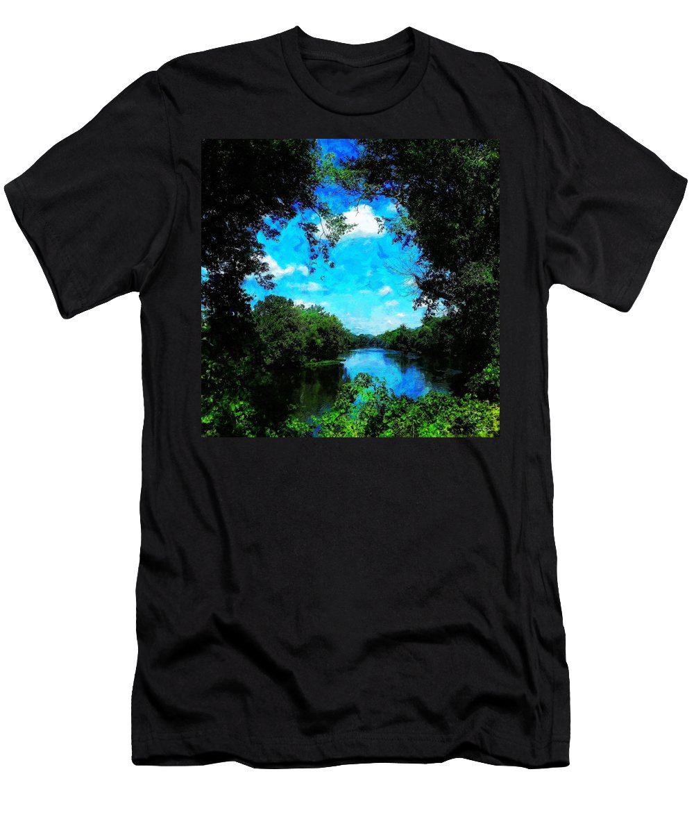 Bristol Men's T-Shirt (Athletic Fit) featuring the painting The Bend At Bristol by Sandy MacGowan